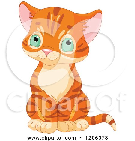 Cartoon of a Cute Ginger Tabby Kitten Sitting - Royalty Free Vector Clipart by Pushkin
