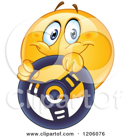 Cartoon of a Happy Emoticon Smiley Driving with a Steering Wheel - Royalty Free Vector Clipart by yayayoyo