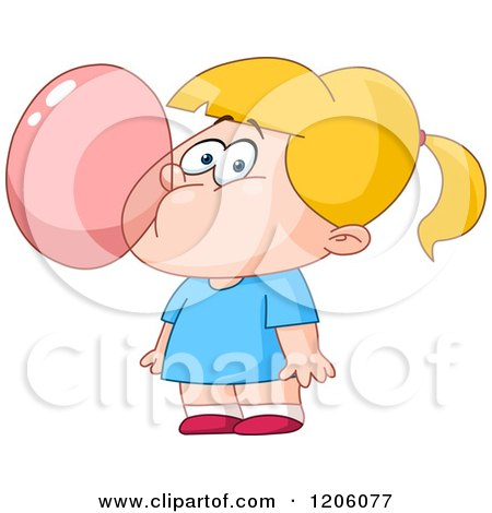 Cartoon of a Blond Girl Blowing Bubble Gum - Royalty Free Vector Clipart by yayayoyo