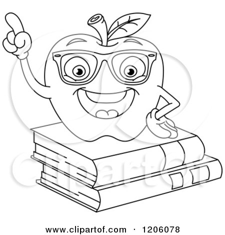 Cartoon of an Outlined Smart Apple on Books - Royalty Free Vector Clipart by yayayoyo