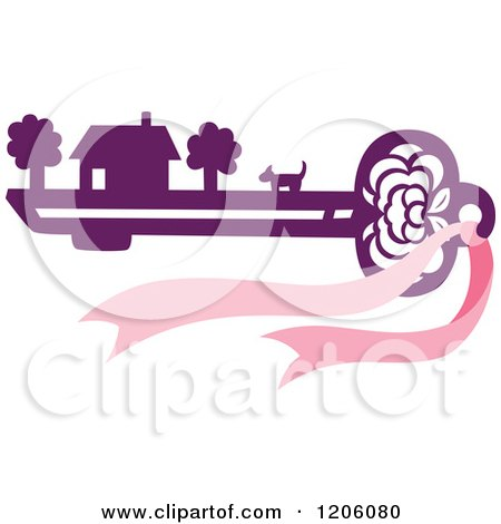 Clipart of a House Dog and Property on a Purple Skeleton Key with a Pink Bow - Royalty Free Vector Illustration by Cherie Reve