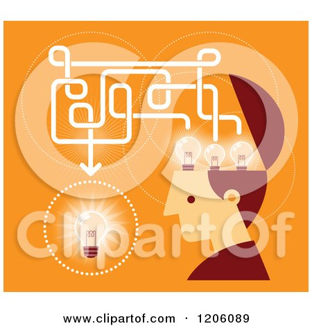 Clipart of a Retro Creative Man with Lightbulbs in His Head, over Orange - Royalty Free Vector Illustration by Qiun
