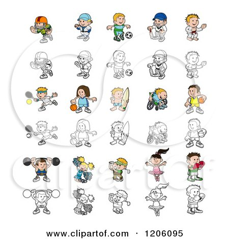 Cartoon of Colored and Outlined People Engaged in Different Sports - Royalty Free Vector Clipart by AtStockIllustration