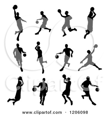 Clipart of Black Silhouetted Basketball Players - Royalty Free Vector Illustration by AtStockIllustration
