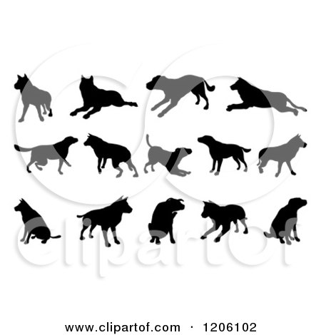 Clipart of Black Silhouetted Dogs Jumping Walking and Playing - Royalty Free Vector Illustration by AtStockIllustration
