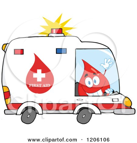 Cartoon of a Happy Blood Drop Driving an Ambulance - Royalty Free Vector Clipart by Hit Toon