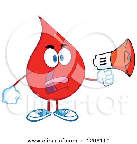 Cartoon of a Mad Blood or Hot Water Drop Making an Announcement - Royalty Free Vector Clipart by Hit Toon