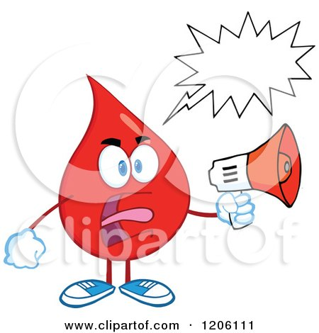 Cartoon of a Mad Blood or Hot Water Drop with a Speech Bubble, Making an Announcement - Royalty Free Vector Clipart by Hit Toon