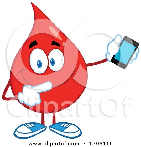 Cartoon of a Happy Blood or Hot Water Drop Holding a Cell Phone - Royalty Free Vector Clipart by Hit Toon