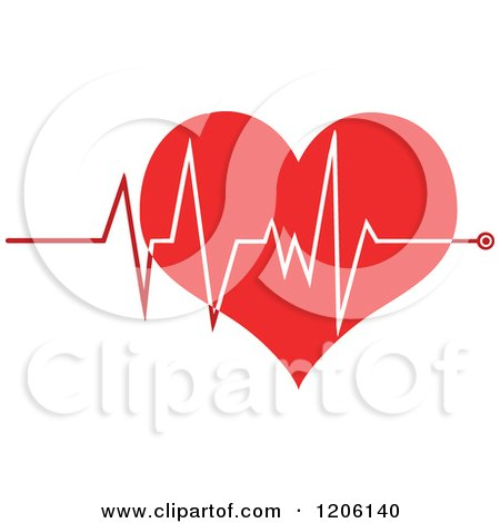 Cartoon of a Red Geart ECG Graph - Royalty Free Vector Clipart by Hit Toon