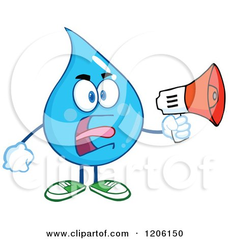 Cartoon of a Mad Blue Water Drop Making an Announcement - Royalty Free Vector Clipart by Hit Toon