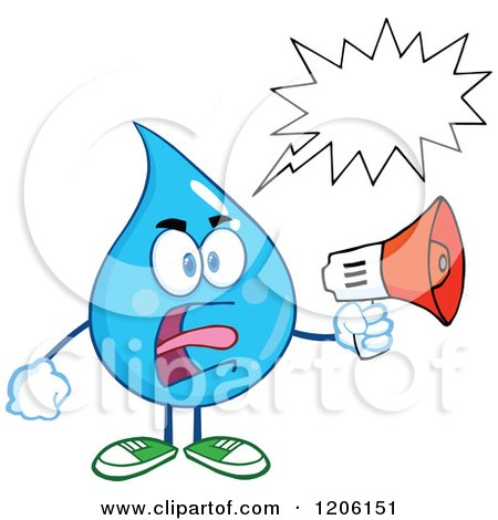 Cartoon of a Mad Blue Water Drop with a Word Balloon, Making an Announcement - Royalty Free Vector Clipart by Hit Toon