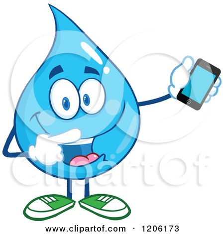 Cartoon of a Happy Blue Water Drop Holding and Pointing to a Cell Phone - Royalty Free Vector Clipart by Hit Toon