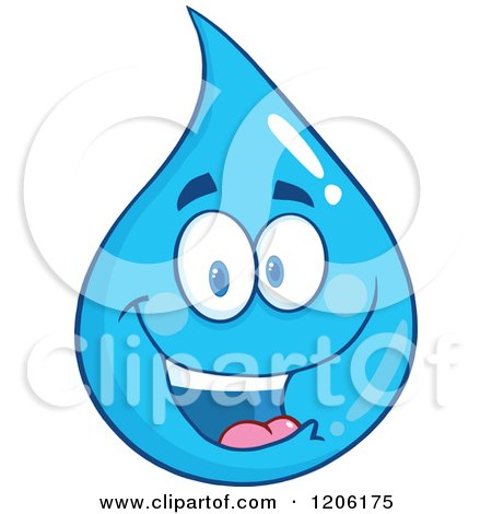 Cartoon of a Happy Blue Water Drop - Royalty Free Vector Clipart by Hit Toon