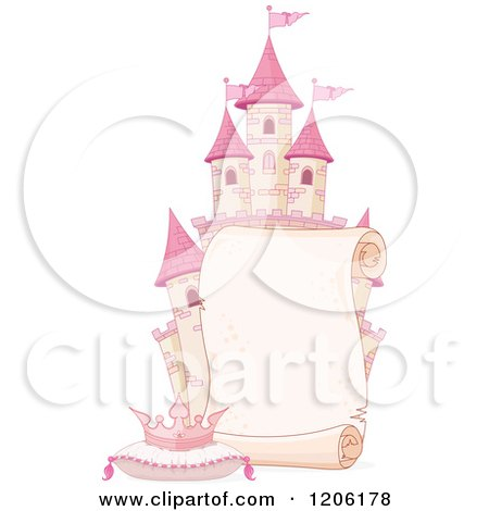 Cartoon of a Scroll Sign over a Pink Fantasy Castle with a Tiara on a Pillow - Royalty Free Vector Clipart by Pushkin
