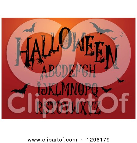 Clipart of Black Halloween Themed Letters with Flying Bats on Orange - Royalty Free Vector Illustration by Pushkin