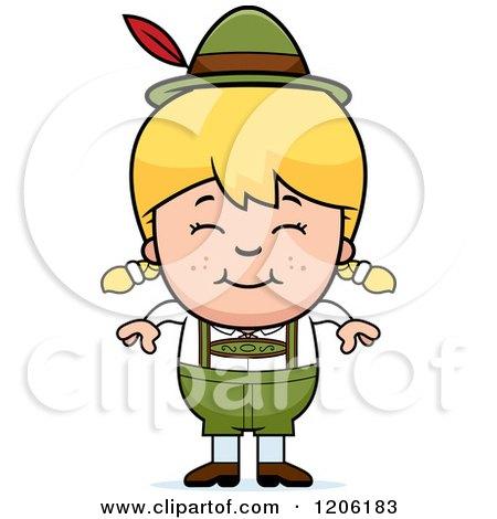 Cartoon of a Happy Blond Oktoberfest German Girl - Royalty Free Vector Clipart by Cory Thoman