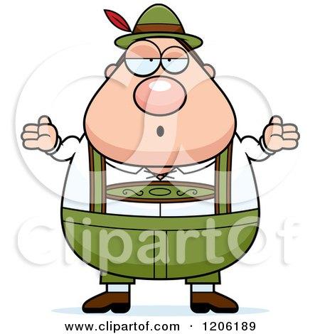 Cartoon of a Careless Shrugging Chubby Oktoberfest German Man - Royalty Free Vector Clipart by Cory Thoman