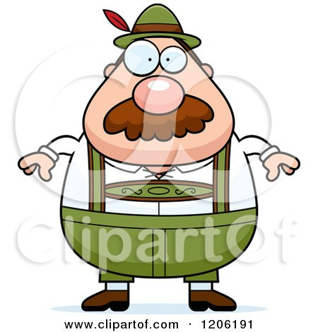 Cartoon of a Chubby Oktoberfest German Man with a Mustache - Royalty Free Vector Clipart by Cory Thoman