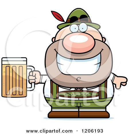 Cartoon of a Happy Short Oktoberfest German Man Holding a Beer - Royalty Free Vector Clipart by Cory Thoman
