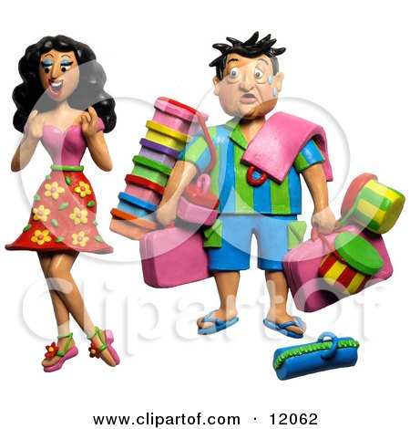 Clay Sculpture Clipart High Maintenance Woman Having Her Husband Carry All Of Her Travel Luggage - Royalty Free 3d Illustration  by Amy Vangsgard