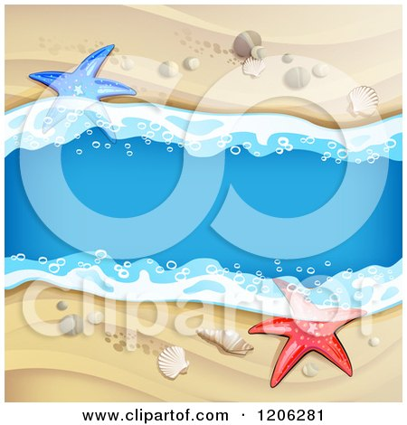 Clipart of a Beach Stream Flowing Through Sand Shells and Starfish - Royalty Free Vector Illustration by merlinul
