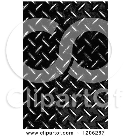 Clipart of a 3d Grungy Worn Black Diamond Plate Texture - Royalty Free CGI Illustration by Arena Creative