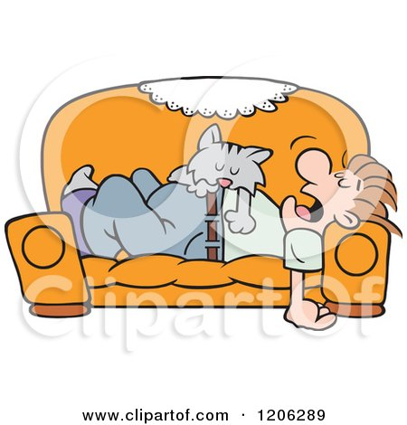 Cartoon of a Cat Napping on a Mans Tummy on a Couch - Royalty Free Vector Clipart by Johnny Sajem