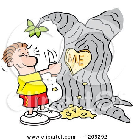 Cartoon of a Man Carving I Heart Me into a Tree - Royalty Free Vector Clipart by Johnny Sajem