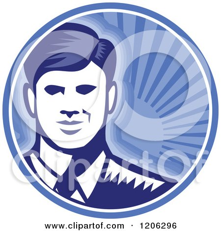 Clipart of a Retro Woodcut Businessman Smiling in a Blue Sunshine Circle - Royalty Free Vector Illustration by patrimonio