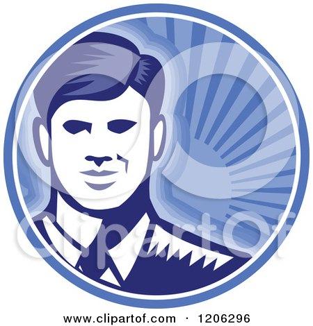Retro Woodcut Businessman Smiling in a Blue Sunshine Circle Posters, Art Prints