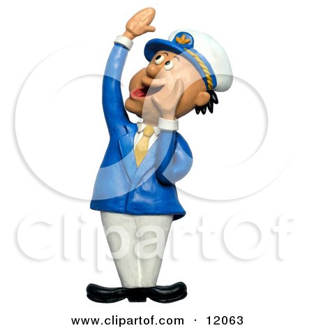 Clay Sculpture Clipart Ship Captain Hollering - Royalty Free 3d Illustration  by Amy Vangsgard