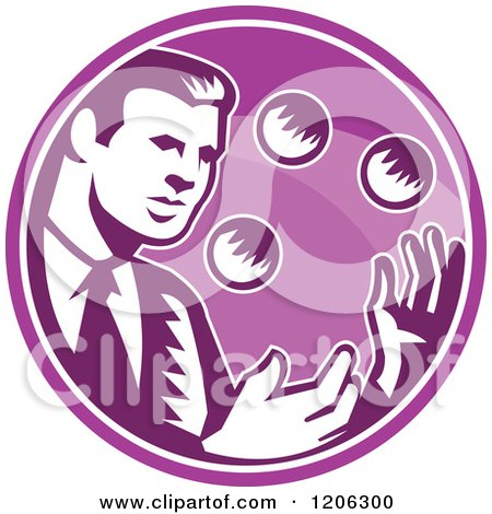 Clipart of a Retro Woodcut Businessman Juggling Balls Inside a Purple Circle - Royalty Free Vector Illustration by patrimonio