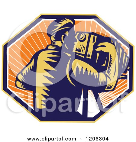 Clipart of a Retro Woodcut Photographer Using a Bellows Camera in an Octagon of Sunshine - Royalty Free Vector Illustration by patrimonio