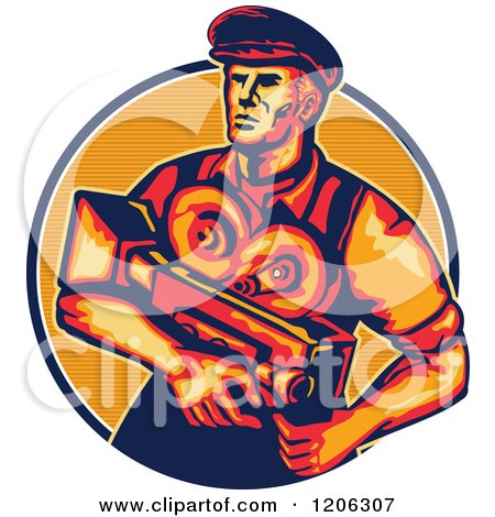 Clipart of a Retro Movie Director Camera Man in a Lined Circle - Royalty Free Vector Illustration by patrimonio