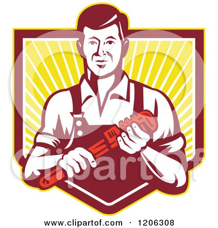 Retro Plumber Worker Man Holding a Monkey Wrench over a Ray Crest Shield Posters, Art Prints