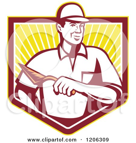 Clipart of a Retro Mason Worker Man with a Trowel over a Ray Crest Shield - Royalty Free Vector Illustration by patrimonio