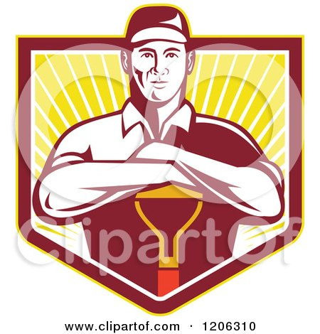 Clipart of a Retro Gardener Worker Man Resting on a Shovel over a Ray Crest Shield - Royalty Free Vector Illustration by patrimonio