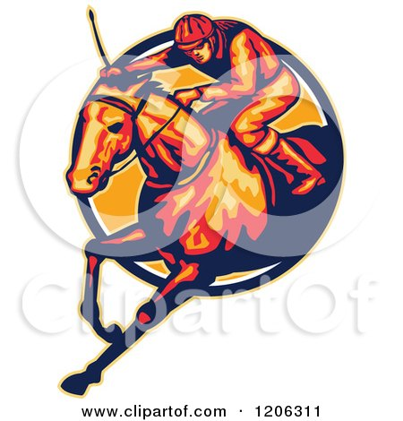 Clipart of a Retro Racing Jockey and Horse Leaping Through a Circle - Royalty Free Vector Illustration by patrimonio
