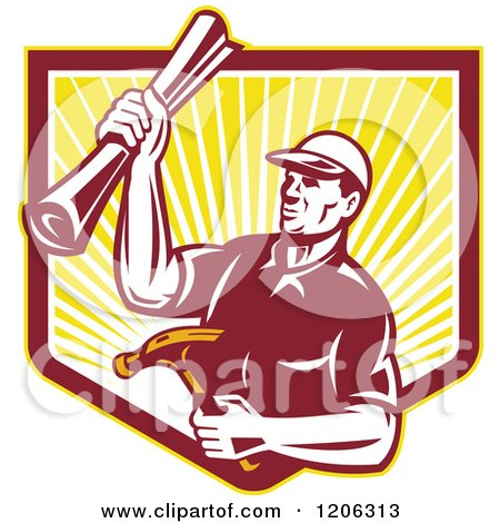 Clipart of a Retro Strong Carpenter Man Holding a Hammer and Blueprints over a Ray Shield Crest - Royalty Free Vector Illustration by patrimonio