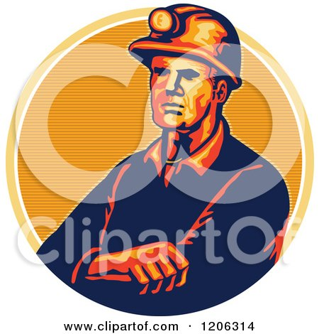 Clipart of a Retro Coal Miner Worker with Folded Arms and a Hard Hat over a Lined Circle - Royalty Free Vector Illustration by patrimonio
