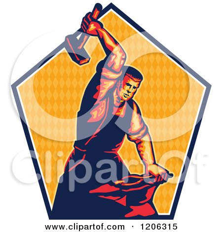 Clipart of a Retro Blacksmith Worker Man Striking an Anvil with a Sledgehammer over a Triangle Patterned Pentagon - Royalty Free Vector Illustration by patrimonio