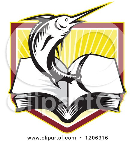 Clipart of a Retro Woodcut Marlin Fish Leaping from an Open Book over a Ray Crest Shield - Royalty Free Vector Illustration by patrimonio