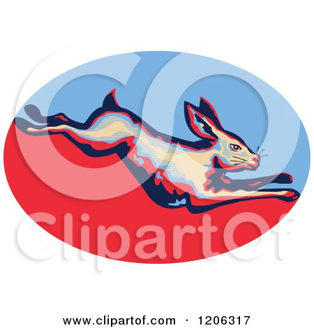 Clipart of a Retro Leaping Rabbit over a Blue and Red Oval - Royalty Free Vector Illustration by patrimonio