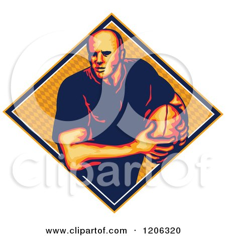 Clipart of a Retro Rugby Player with a Ball in a Diamond with a Pattern - Royalty Free Vector Illustration by patrimonio