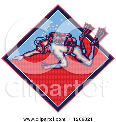 Clipart of a Retro Scuba Diver in a Patterned Diamond - Royalty Free Vector Illustration by patrimonio