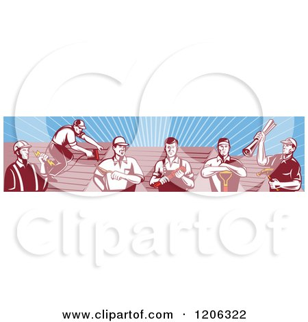 Clipart of a Team of Retro Tradesmen Professional Workers and Roofs over Rays - Royalty Free Vector Illustration by patrimonio