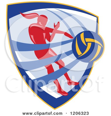 Clipart of a Retro Female Volleyball Player Spiking a Ball Inside a Crest Shield - Royalty Free Vector Illustration by patrimonio