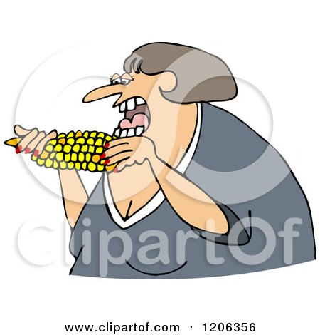 Cartoon of a Caucasian Woman Eating Corn - Royalty Free Vector Clipart by djart