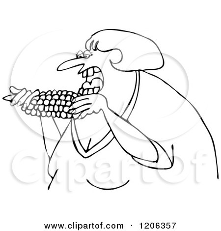 Cartoon of an Outlined Woman Eating Corn - Royalty Free Vector Clipart by djart